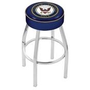 L8C1 - 4 U.S. Navy Cushion Seat with Chrome Base Swivel Bar Stool by Holland Bar Stool Company