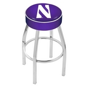 L8C1 - 4 Northwestern Cushion Seat with Chrome Base Swivel Bar Stool by Holland Bar Stool Company