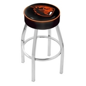 L8C1 - 4 Oregon State Cushion Seat with Chrome Base Swivel Bar Stool by Holland Bar Stool Company