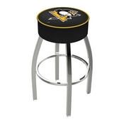 L8C1 - 4 Pittsburgh Penguins Cushion Seat with Chrome Base Swivel Bar Stool by Holland Bar Stool Company