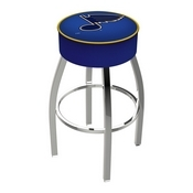 L8C1 - 4 St Louis Blues Cushion Seat with Chrome Base Swivel Bar Stool by Holland Bar Stool Company
