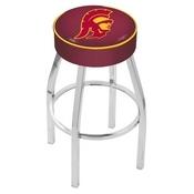 L8C1 - 4 USC Trojans Cushion Seat with Chrome Base Swivel Bar Stool by Holland Bar Stool Company