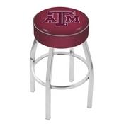 L8C1 - 4 Texas A&M Cushion Seat with Chrome Base Swivel Bar Stool by Holland Bar Stool Company