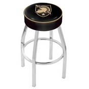 L8C1 - 4 US Military Academy (ARMY) Cushion Seat with Chrome Base Swivel Bar Stool by Holland Bar Stool Company