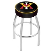 L8C1 - 4 Virginia Military Institute Cushion Seat with Chrome Base Swivel Bar Stool by Holland Bar Stool Company