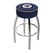 L8C1 - 4 Winnipeg Jets Cushion Seat with Chrome Base Swivel Bar Stool by Holland Bar Stool Company