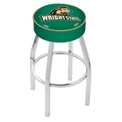 L8C1 - 4 Wright State Cushion Seat with Chrome Base Swivel Bar Stool by Holland Bar Stool Company