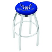 L8C2C - Chrome U.S. Air Force Swivel Bar Stool with Accent Ring by Holland Bar Stool Company