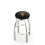 L8C2C - Chrome Arizona State Swivel Bar Stool with Accent Ring and Pitchfork Logo by Holland Bar Stool Company
