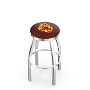 L8C2C - Chrome Arizona State Swivel Bar Stool with Accent Ring and Sparky Logo by Holland Bar Stool Company
