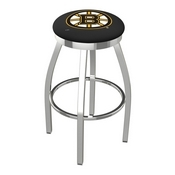 L8C2C - Chrome Boston Bruins Swivel Bar Stool with Accent Ring by Holland Bar Stool Company