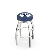 L8C2C - Chrome Brigham Young Swivel Bar Stool with Accent Ring by Holland Bar Stool Company