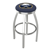 L8C2C - Chrome Buffalo Sabres Swivel Bar Stool with Accent Ring by Holland Bar Stool Company
