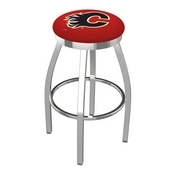 L8C2C - Chrome Calgary Flames Swivel Bar Stool with Accent Ring by Holland Bar Stool Company