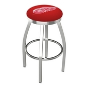L8C2C - Chrome Detroit Red Wings Swivel Bar Stool with Accent Ring by Holland Bar Stool Company