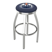 L8C2C - Chrome Edmonton Oilers Swivel Bar Stool with Accent Ring by Holland Bar Stool Company