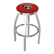 L8C2C - Chrome Florida Panthers Swivel Bar Stool with Accent Ring by Holland Bar Stool Company