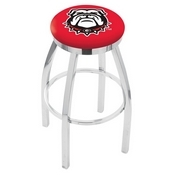L8C2C - Chrome Georgia Bulldog Swivel Bar Stool with Accent Ring by Holland Bar Stool Company