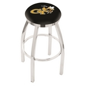L8C2C - Chrome Georgia Tech Swivel Bar Stool with Accent Ring by Holland Bar Stool Company
