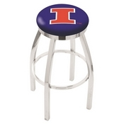 L8C2C - Chrome Illinois Swivel Bar Stool with Accent Ring by Holland Bar Stool Company