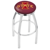 L8C2C - Chrome Iowa State Swivel Bar Stool with Accent Ring by Holland Bar Stool Company