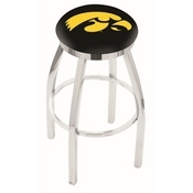 L8C2C - Chrome Iowa Swivel Bar Stool with Accent Ring by Holland Bar Stool Company