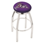 L8C2C - Chrome James Madison Swivel Bar Stool with Accent Ring by Holland Bar Stool Company