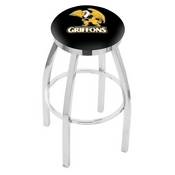 L8C2C - Chrome Missouri Western State Swivel Bar Stool with Accent Ring by Holland Bar Stool Company