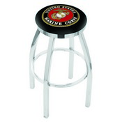 L8C2C - Chrome U.S. Marines Swivel Bar Stool with Accent Ring by Holland Bar Stool Company