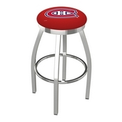 L8C2C - Chrome Montreal Canadiens Swivel Bar Stool with Accent Ring by Holland Bar Stool Company