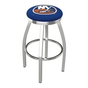 L8C2C - Chrome New York Islanders Swivel Bar Stool with Accent Ring by Holland Bar Stool Company