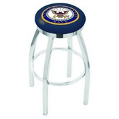 L8C2C - Chrome U.S. Navy Swivel Bar Stool with Accent Ring by Holland Bar Stool Company