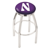 L8C2C - Chrome Northwestern Swivel Bar Stool with Accent Ring by Holland Bar Stool Company