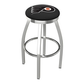 L8C2C - Chrome Philadelphia Flyers Swivel Bar Stool with Accent Ring by Holland Bar Stool Company