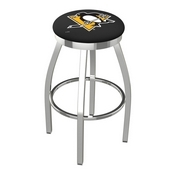 L8C2C - Chrome Pittsburgh Penguins Swivel Bar Stool with Accent Ring by Holland Bar Stool Company