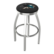 L8C2C - Chrome San Jose Sharks Swivel Bar Stool with Accent Ring by Holland Bar Stool Company