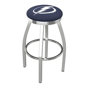 L8C2C - Chrome Tampa Bay Lightning Swivel Bar Stool with Accent Ring by Holland Bar Stool Company