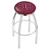 L8C2C - Chrome Texas A&M Swivel Bar Stool with Accent Ring by Holland Bar Stool Company