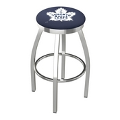 L8C2C - Chrome Toronto Maple Leafs Swivel Bar Stool with Accent Ring by Holland Bar Stool Company