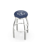 L8C2C - Chrome US Naval Academy (NAVY) Swivel Bar Stool with Accent Ring by Holland Bar Stool Company