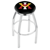 L8C2C - Chrome Virginia Military Institute Swivel Bar Stool with Accent Ring by Holland Bar Stool Company