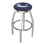 L8C2C - Chrome Vancouver Canucks Swivel Bar Stool with Accent Ring by Holland Bar Stool Company