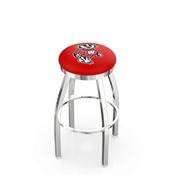 L8C2C - Chrome Wisconsin Badger Swivel Bar Stool with Accent Ring by Holland Bar Stool Company