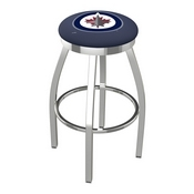 L8C2C - Chrome Winnipeg Jets Swivel Bar Stool with Accent Ring by Holland Bar Stool Company