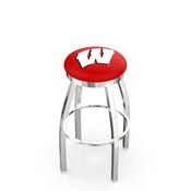 L8C2C - Chrome Wisconsin W Swivel Bar Stool with Accent Ring by Holland Bar Stool Company
