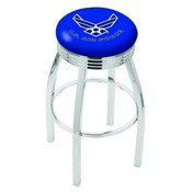 L8C3C - Chrome U.S. Air Force Swivel Bar Stool with 2.5 Ribbed Accent Ring by Holland Bar Stool Company