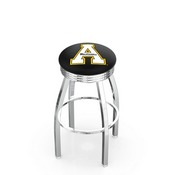 L8C3C - Chrome Appalachian State Swivel Bar Stool with 2.5 Ribbed Accent Ring by Holland Bar Stool Company
