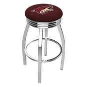 L8C3C - Chrome Arizona Coyotes Swivel Bar Stool with 2.5 Ribbed Accent Ring by Holland Bar Stool Company