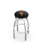 L8C3C - Chrome Arizona State Swivel Bar Stool with 2.5 Ribbed Accent Ring and Pitchfork Logo by Holland Bar Stool Company