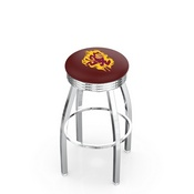L8C3C - Chrome Arizona State Swivel Bar Stool with 2.5 Ribbed Accent Ring and Sparky Logo by Holland Bar Stool Company